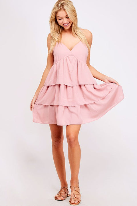Mauve Tiered Babydoll Dress