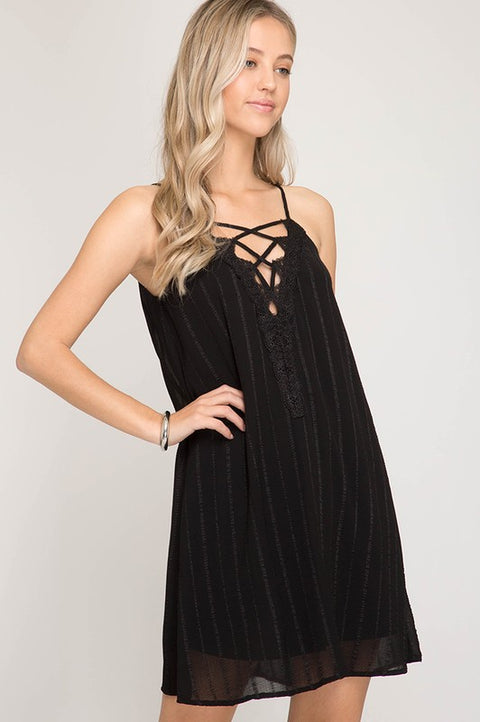 Black Lace Up Woven Dress
