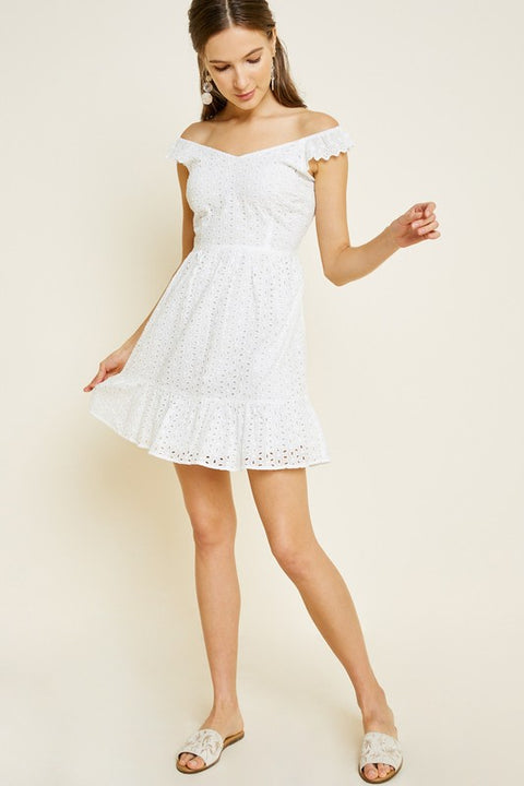 Hadley Eyelet Ruffled Dress