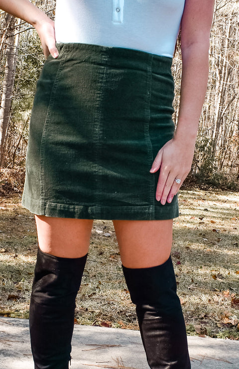 Green High Waisted Corduroy Skirt