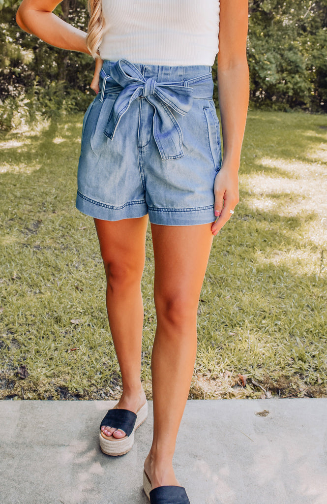 Delaney High Waist Denim Shorts