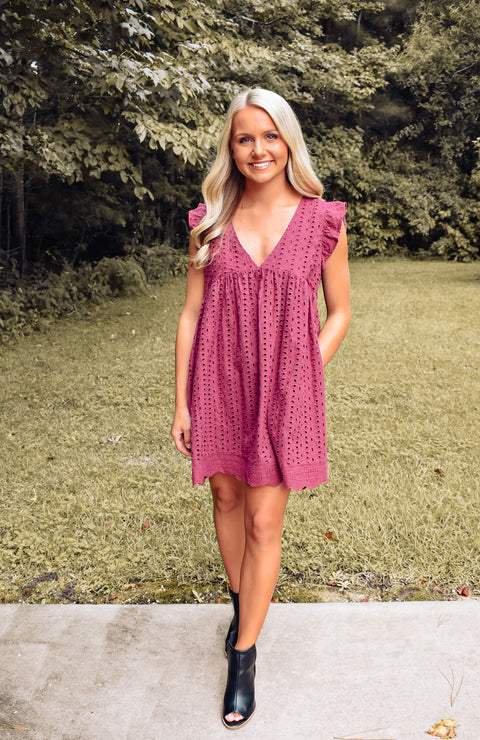 Ashleigh Eyelet Pocketed Romper Dress - Velvet Rose
