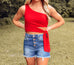 Red Ribbed One Shoulder Crop Top