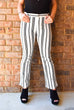 Black + White Stripe Cropped Pants