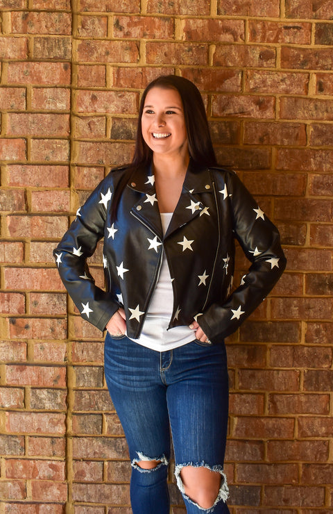 Shining Star Faux Leather Moto Jacket
