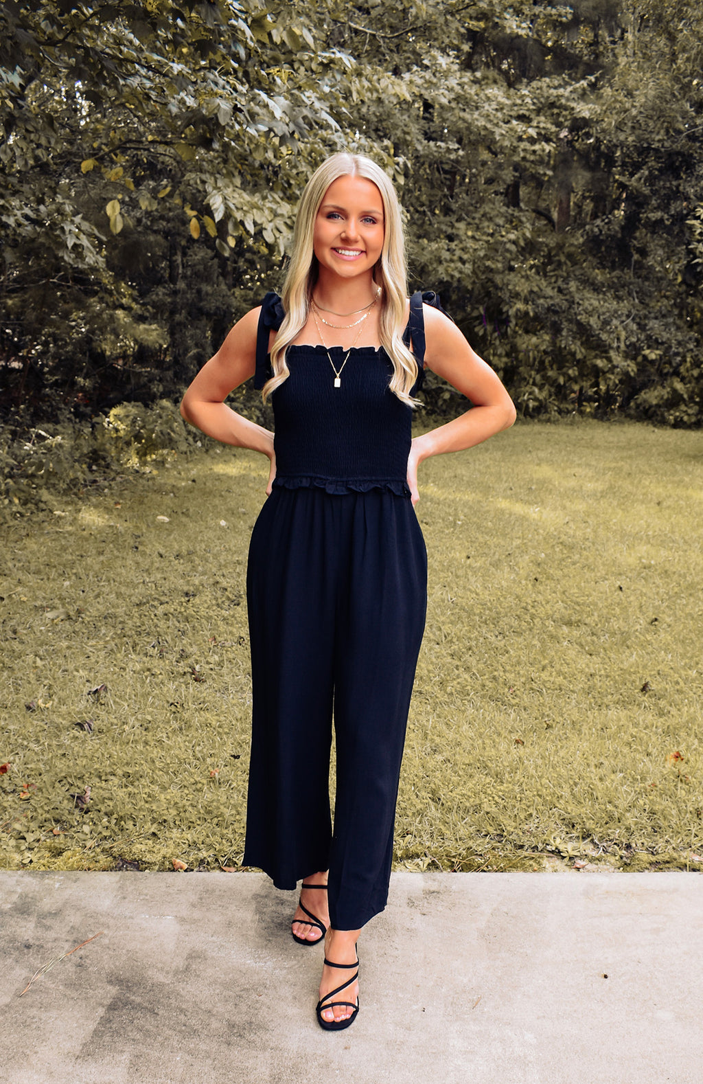 Kimberly Smocked Wide Leg Jumpsuit