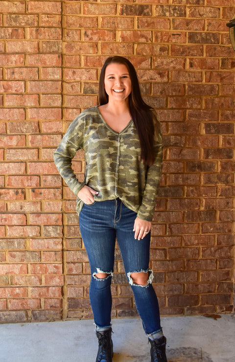 Brushed Camo Waffle Knit Top