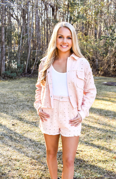 Clearwater Cropped Eyelet Jacket
