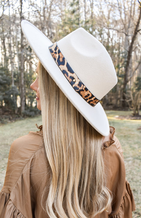 Cream Leopard Fedora Hat