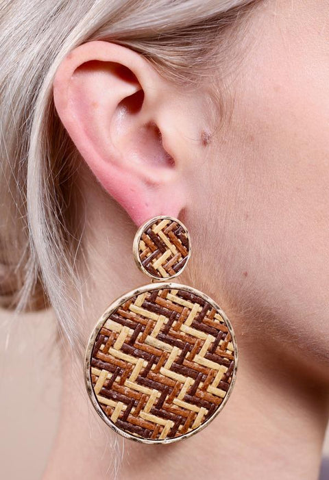 Brown Woven Rafia Earrings