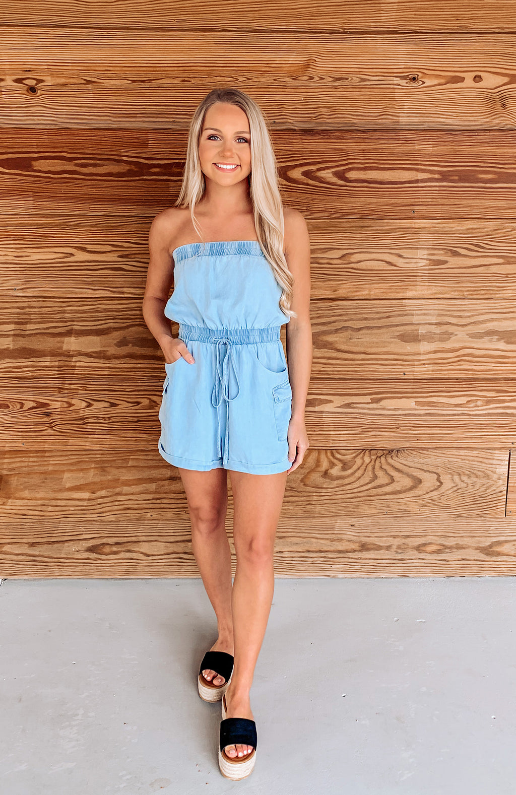 Hampton Days Chambray Pocketed Romper
