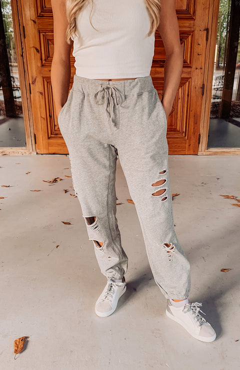 Cozy Up Distressed Jogger Sweatpants