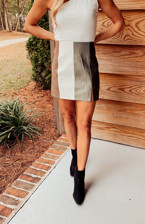 Carry On Faux Leather Skirt