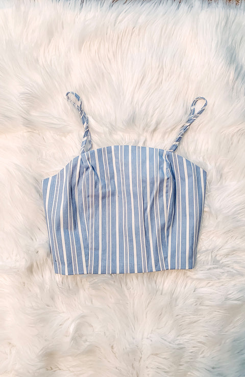 Light Blue & White Stripe Crop Top