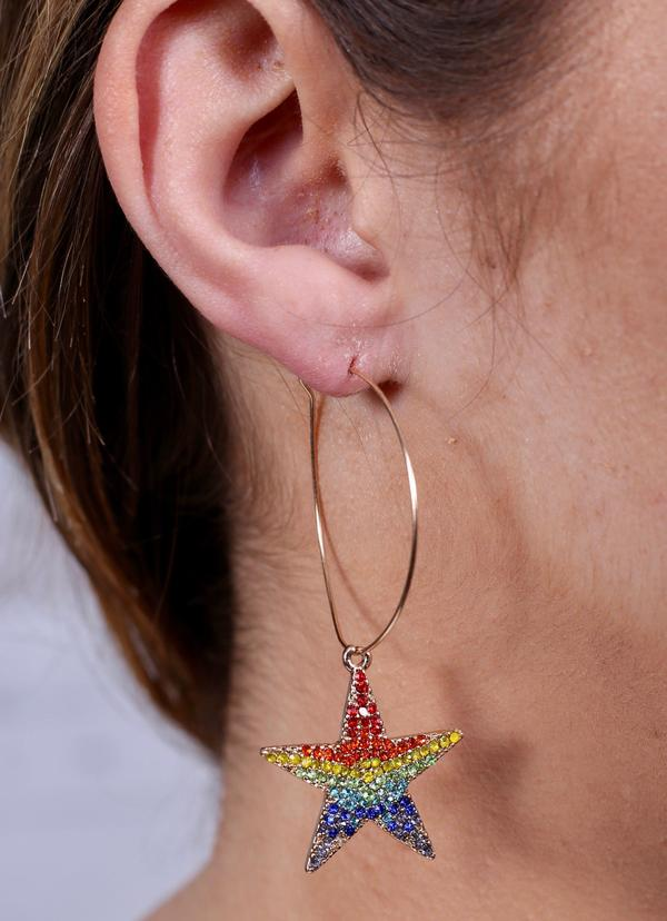 Rainbow Pave Crystal Star Hoops