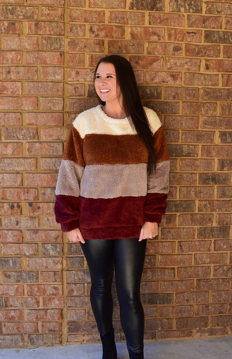 Spice Colorblock Sherpa Sweater