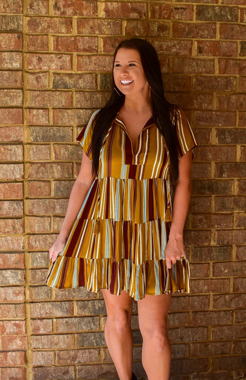 Autumn Spice Striped Tunic Dress