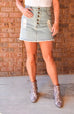 Light Denim Distressed Skirt