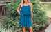 Khloe Pleated Layered Dress in Teal