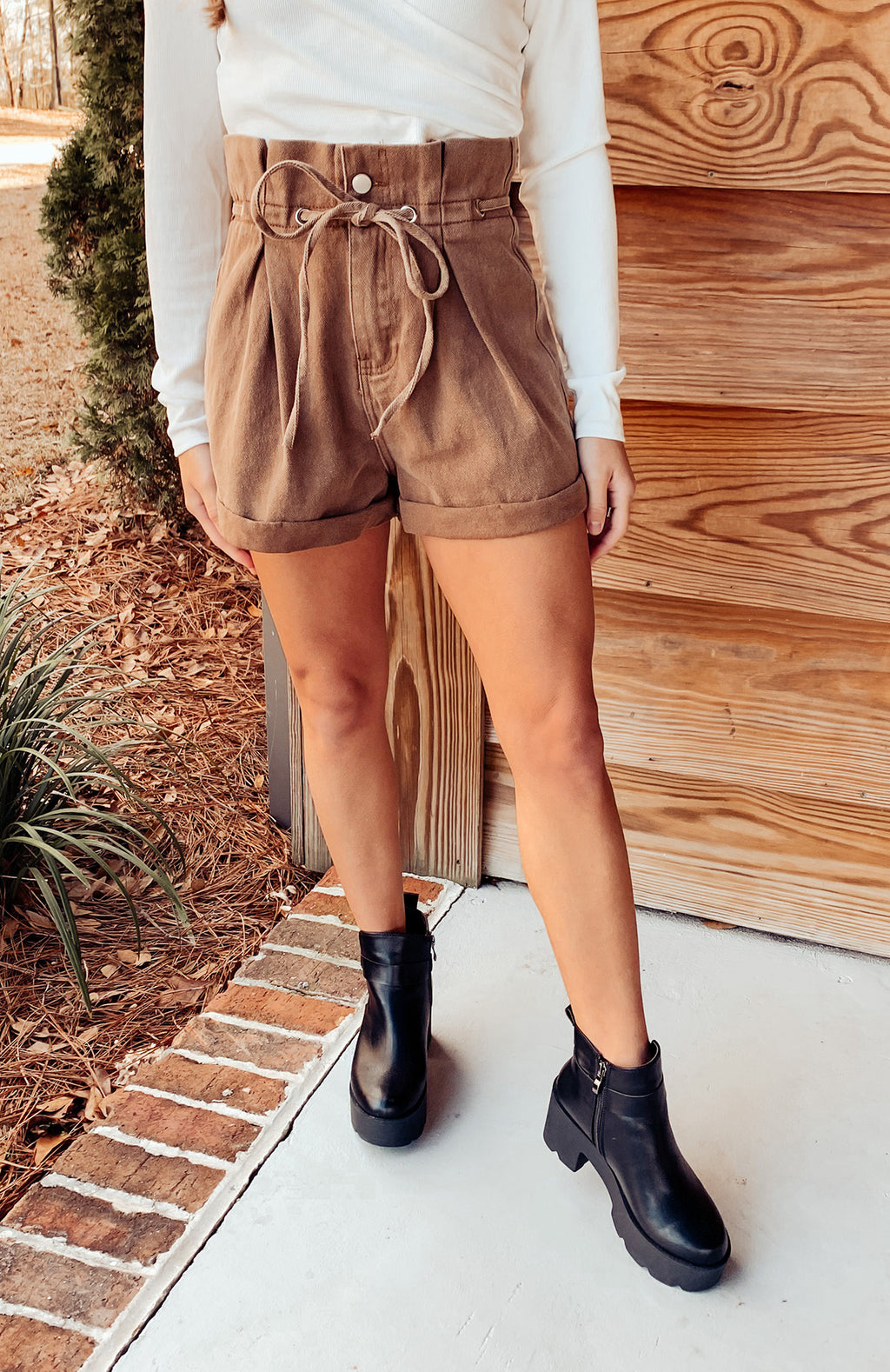 Beachside Paper Bag Denim Shorts - Brown
