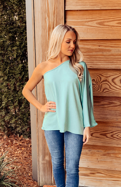 Seafoam One Shoulder Satin Top