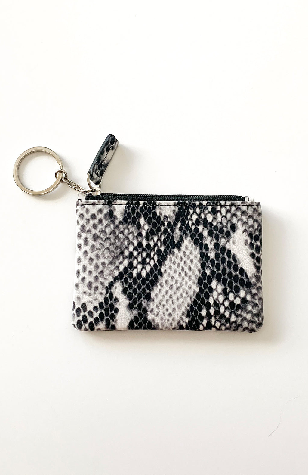 Black + White Snakeskin Coin Purse