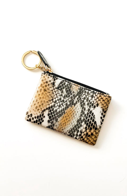 Gold + Silver Snakeskin Coin Purse