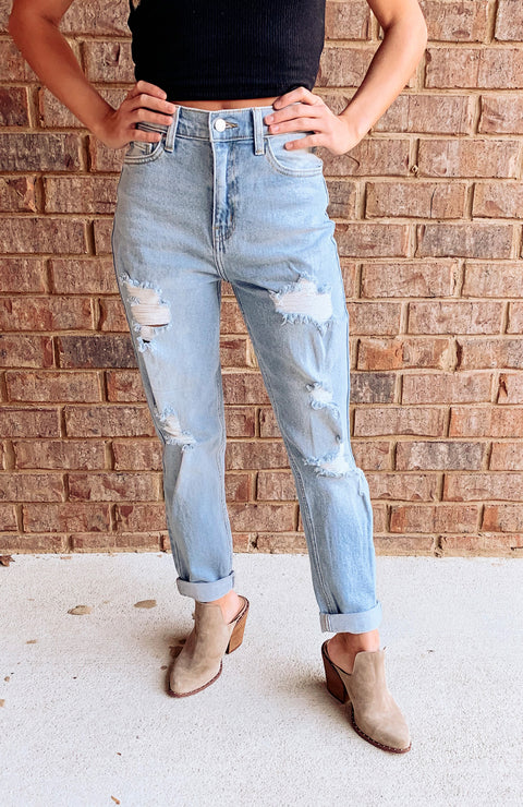 Indie Distressed Mom Jeans