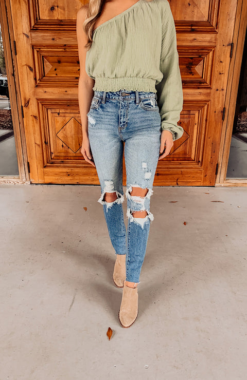 Halsey Distressed Mom Jeans