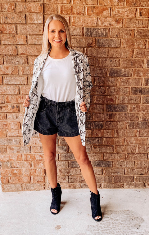 Work to Play Snakeskin Blazer