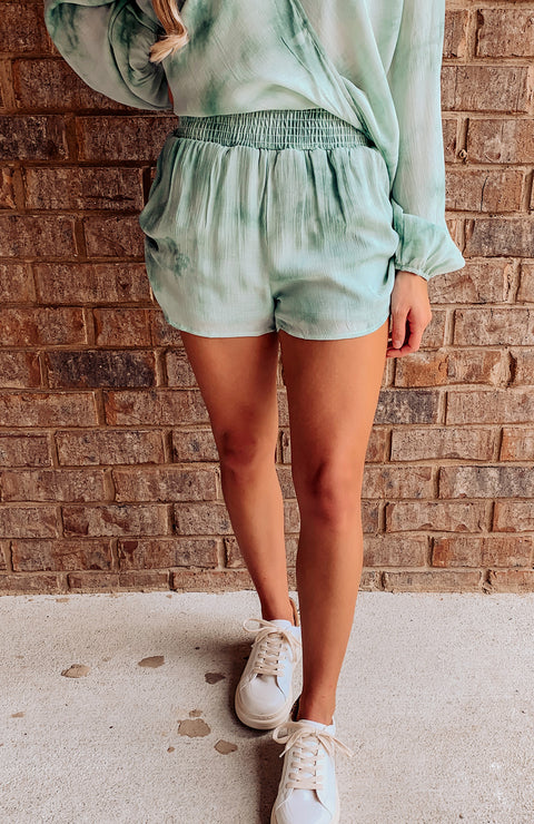 Seas The Day Ruched Tie Dye Shorts