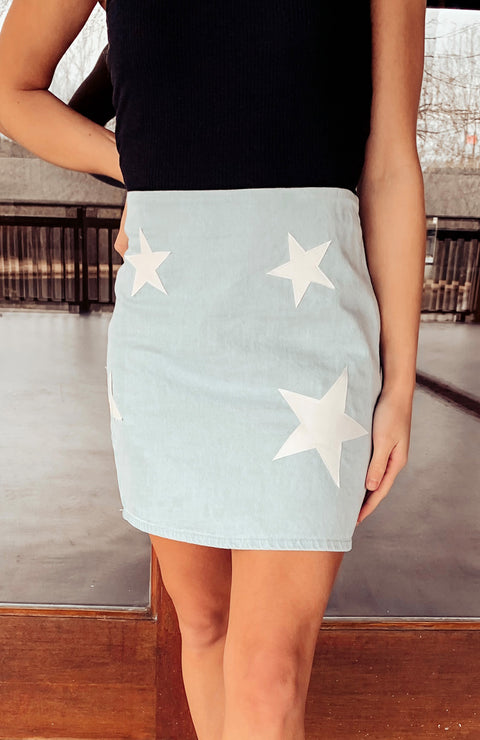 Hardy Star Print Denim Skirt