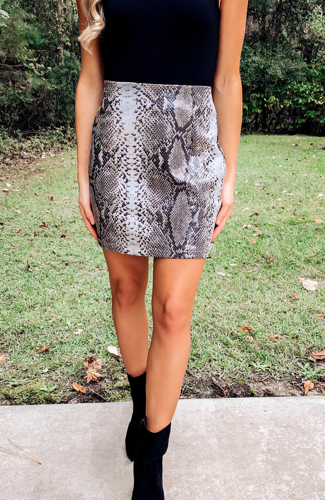 Wild Card Faux Leather Snakeskin Skirt