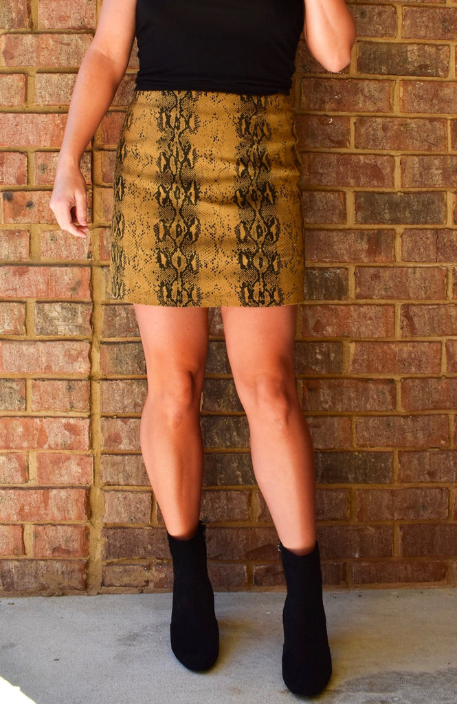 High Waist Snakeskin Skirt