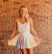 Pastel Pleated Rainbow Romper