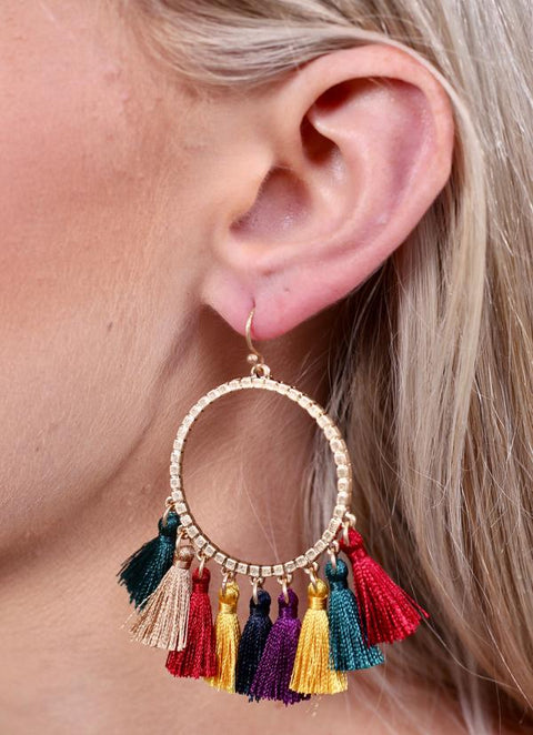 Colors of Fall Tassel Earrings