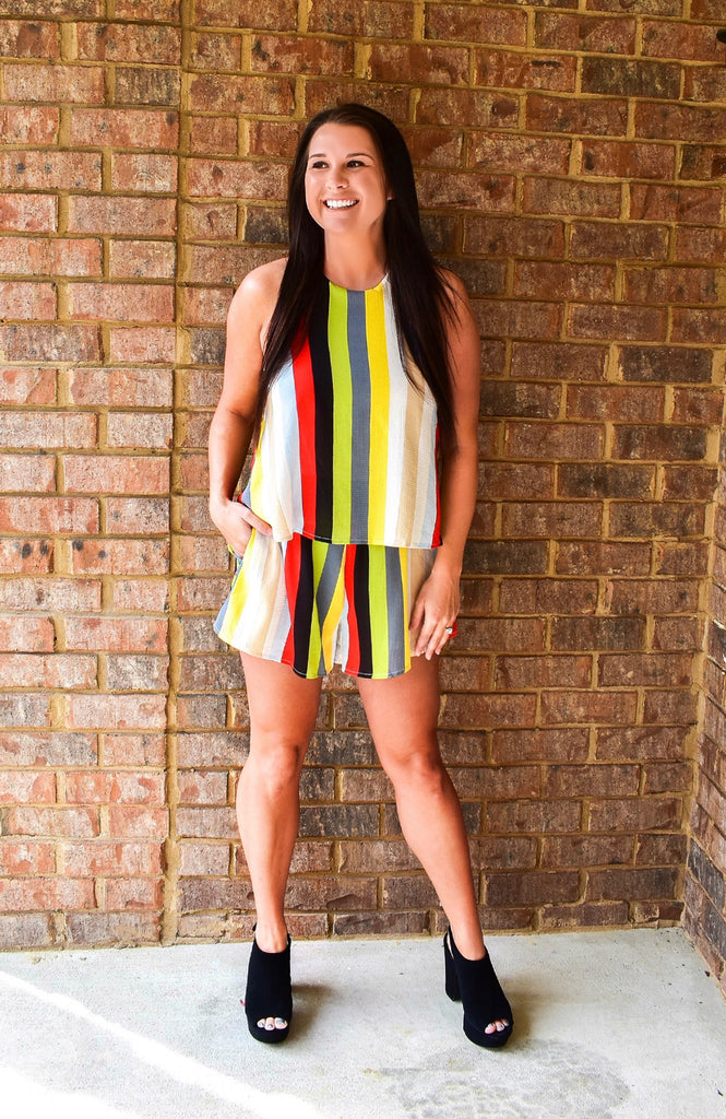 Retro Multi Stripe Romper