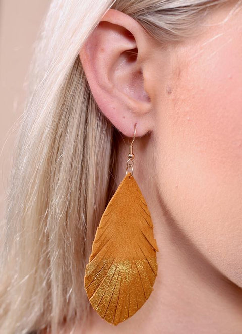 Leather Gold Dipped Feather Earrings