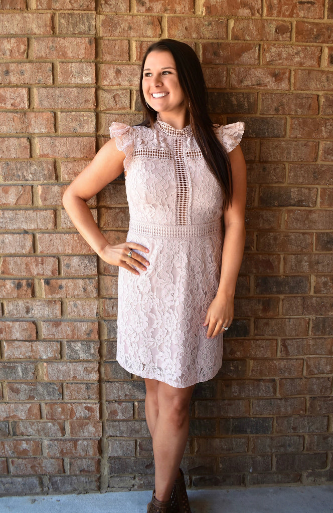 Misty Pink Crochet & Lace Dress