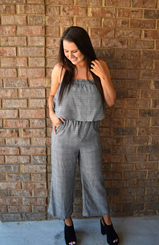Black Plaid Jumpsuit