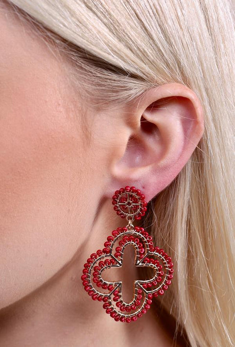 Beaded Quatrefoil Burgundy Earrings