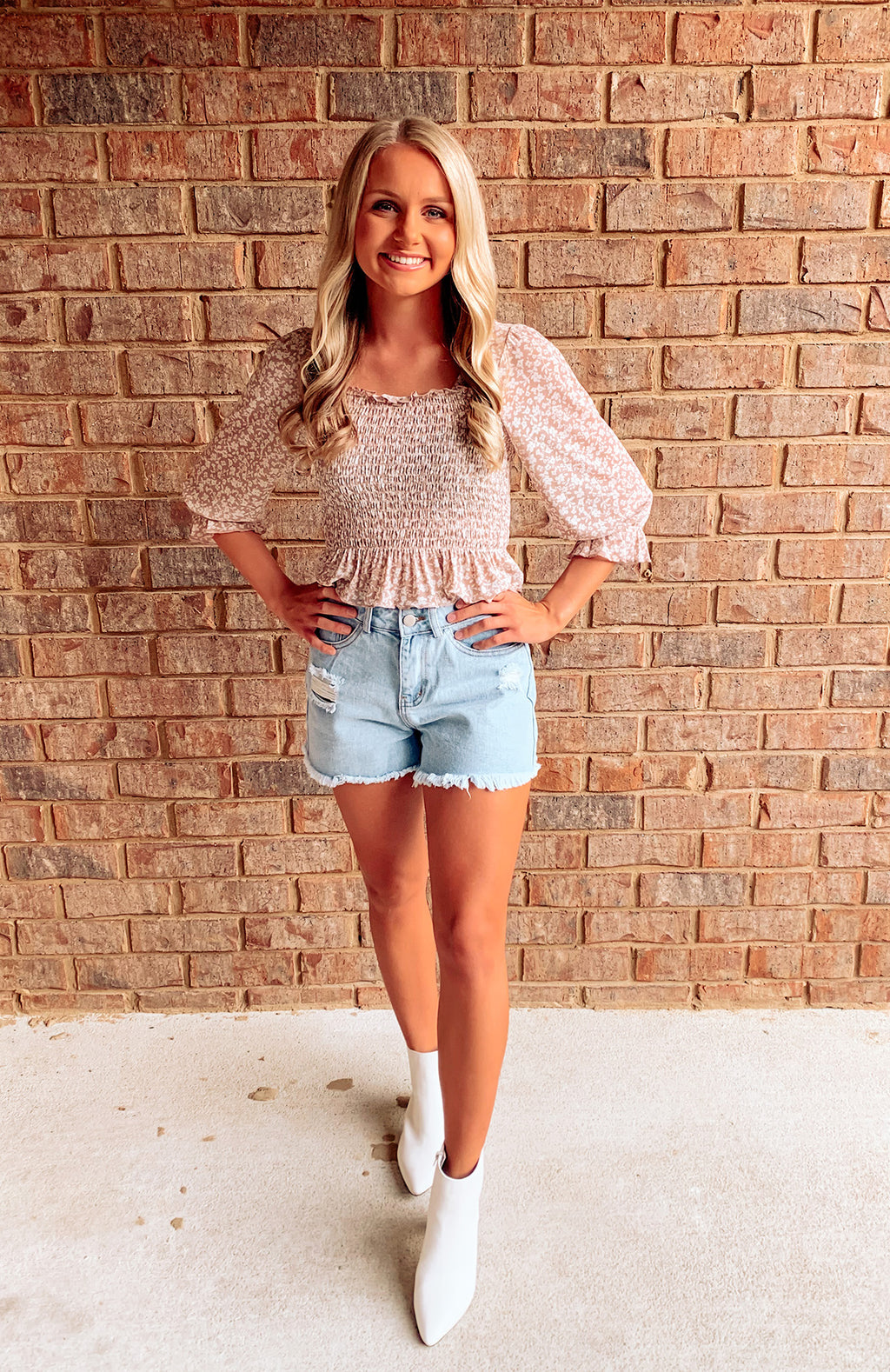 Taupe Floral Smocked Top