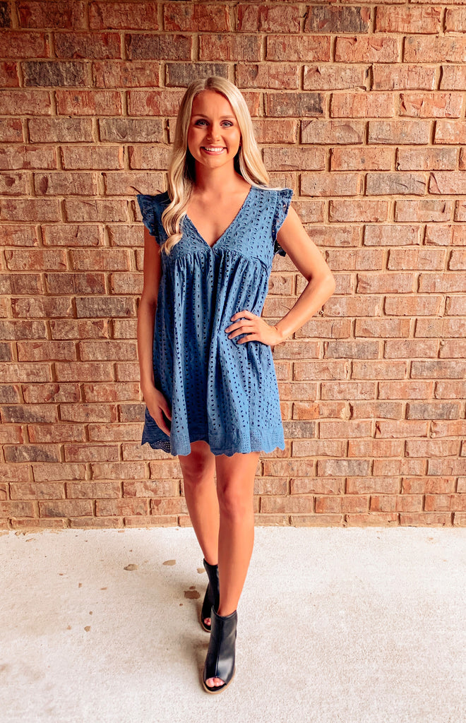 Ashleigh Eyelet Pocketed Romper Dress - Steel Blue