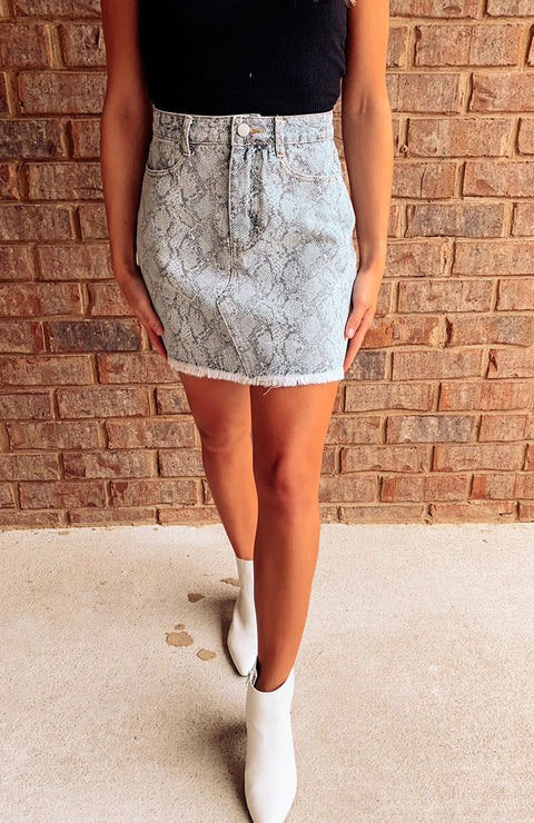 Run Wild Snakeskin Denim Skirt