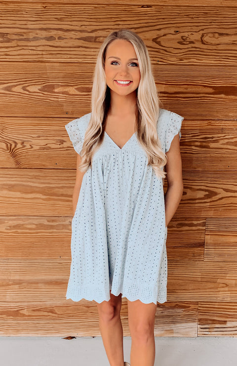Cloud Blue Eyelet Pocketed Romper