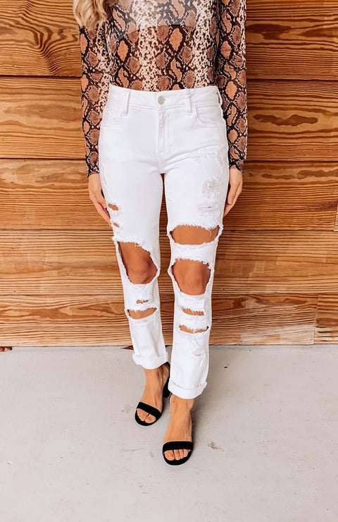 Kylie Distressed Straight Leg Jeans