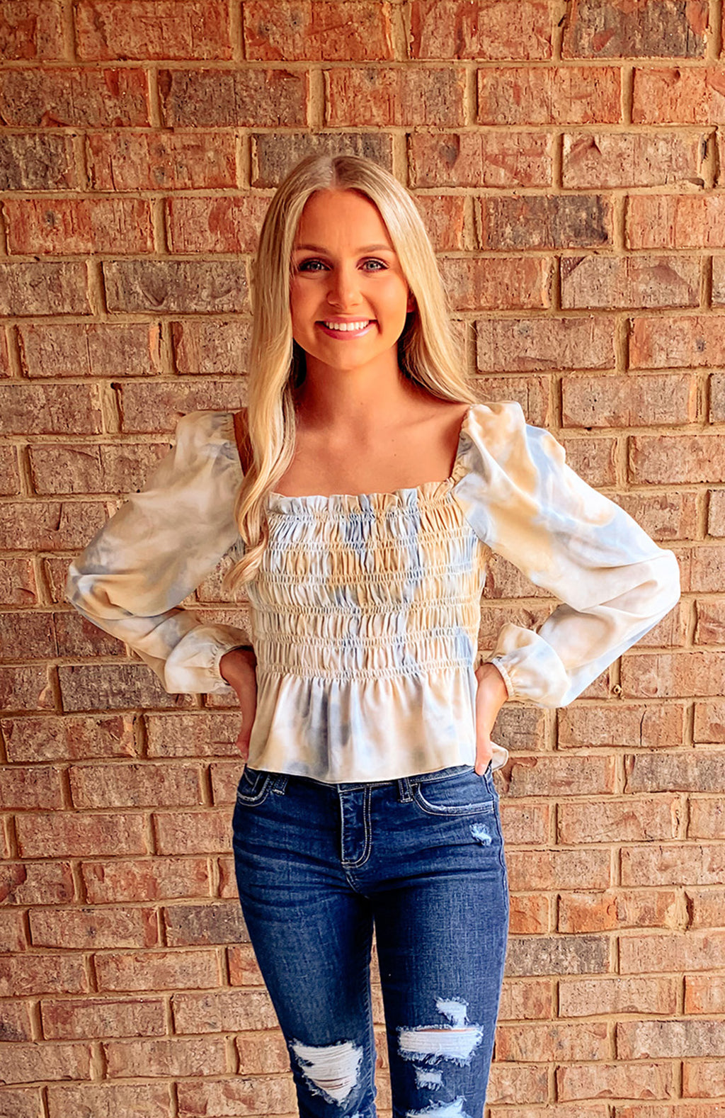 Camellia Tie Dye Smocked Top