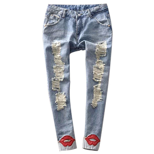 Women's Washed Ripped Denim Red Lips Jean Pants - 7ucky
