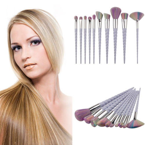 Pro Rainbow Hair Unicorn Thread Cosmetic Make Up Brushes Set (10 pieces) - 7ucky