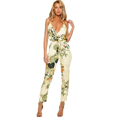 Women's Beachy Floral Print Jumpsuit - 7ucky